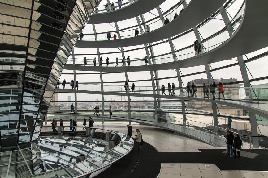 Imagen de la cúpula del Reichstag, vista interna