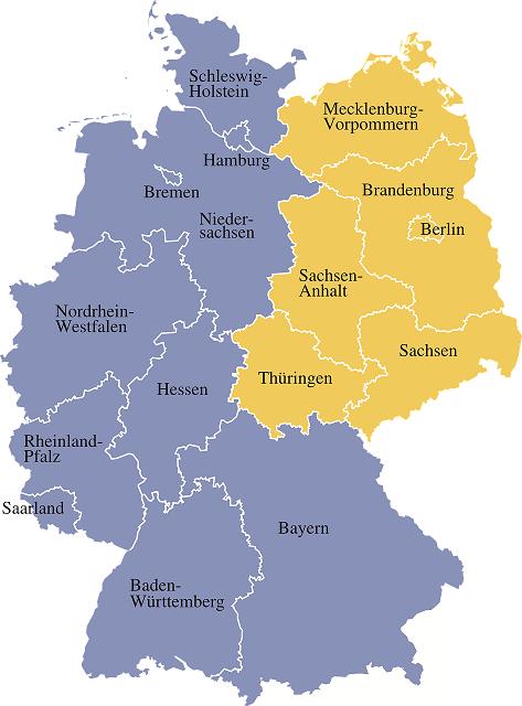 Republica Democratica Alemana Mapa.Los Estados Federados De Alemania Alemaniando Com